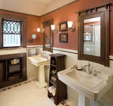 pedestal sink bathroom design ideas bathroom craftsman with beige pedestal sink bathroom design ideas bathroom craftsman with dark wood trim double sin