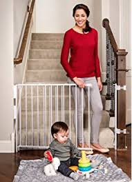 Baby Gates For Bottom Of Stairs With Banister Amazon Com Regalo Top Of Stairs Expandable Metal Gate With