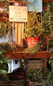 tree farm display featuring lifelike trees greens