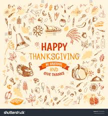 thanksgiving doodles set traditional symbols food stock vector