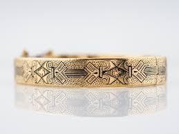 yellow bangle bracelet images Antique bangle bracelet victorian engraved enamel in 14k yellow jpg