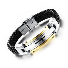 bracelet with cross images Opk jewelry fashion solid stainless steel cross braide jpg