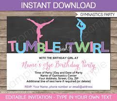 gymnastics invitation template gymnastics birthday party invite