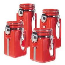 red kitchen canister set andac brick red kitchen ceramic canister set of