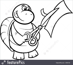 wildlife turtle with scissors coloring page stock illustration