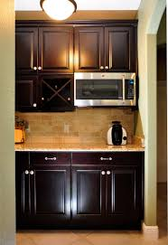 Neutral Kitchen Backsplash Ideas Built In Coffee Bar Dark Cabinets Neutral Backsplash By The