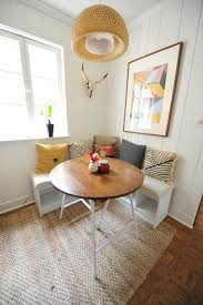 decorating ideas corner breakfast nook with round dining table