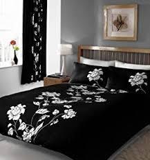 black u0026 white double duvet cover bed set amazon co uk kitchen u0026 home