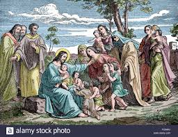 new testament jesus with children color engraving stock photo