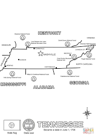Map Of Tennessee State Parks by Tennessee State Map Coloring Page Free Printable Coloring Pages