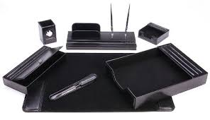 Desk Organizer Leather Majestic Goods Leather Desk Set 7 Black 105