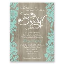 wedding shower invitation flowers and woodgrain bridal shower invitation