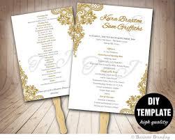 printable wedding program fans gold wedding program fan template diy instant