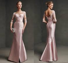2016 sheer scoop pink satin lace mermaid long cocktail party