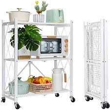 kitchen storage cupboard on wheels mssohkan 3 tier foldable storage shelves with wheels metal storage shelving units heavy duty collapsible kitchen shelves bookshelf small rack with