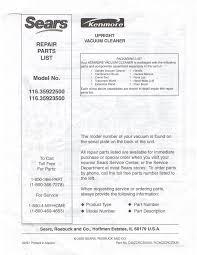 sears vacuum cleaner 116 35923500 user guide manualsonline com