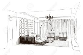 sketch room living room interior sketch royalty free cliparts vectors and