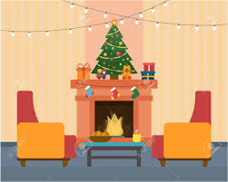 christmas room interior christmas tree fireplace gift and