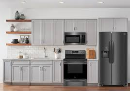 gray kitchen cabinets with black stainless steel appliances lacks frigidaire 3 pc black stainless steel kitchen package