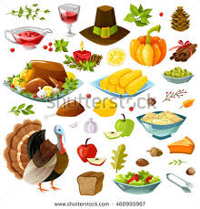 set handdrawn thanksgiving day meal design stock vector 298785005