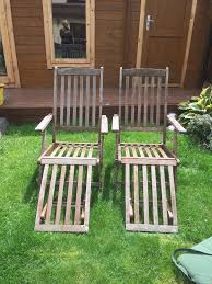 Cushions For Reclining Garden Chairs Two Recliner Garden Chairs With Cushions Solid Wood In