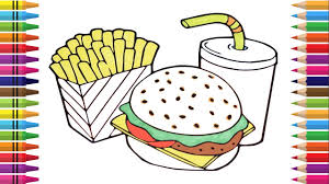 how to draw cheeseburger coloring fast food burger coke and