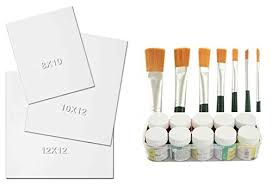 complete painting kit 4 12x12 size canvas board acrylic colors