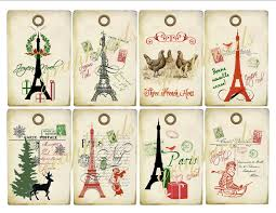 vintage collage paris christmas tags digital download images print