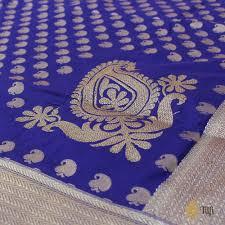 Buy Royal Blue Pure Silk Royal Blue Pure Silk Georgette Banarasi Handloom Dupatta Tilfi