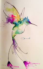 watercolor hummingbird colorfull and cure desing tattoo ideas