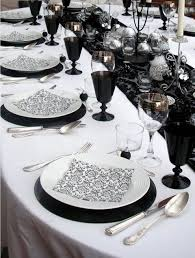 black and white wedding picture of black and white wedding table settings