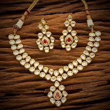 red necklace online images Classic white red kundan gold plated small necklace earrings set jpg