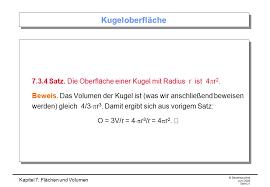 kugeloberfläche kapitel 7 flächen und volumen ppt herunterladen