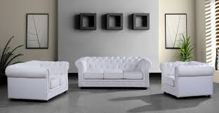 3pc Living Room Set Leather Ultra Modern 3pc Living Room Set Paris 3 White