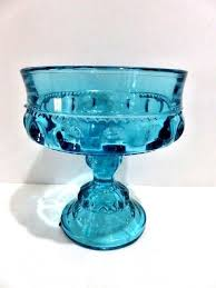 art glass cat ring holder images Indiana glass teal kings crown thumbprint compote pedestal open jpg