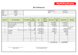 Bom Template Excel Bill Of Material Bom Format Clothing Study
