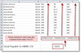 microsoft excel u2013 hmrc cis how to record payments and aid