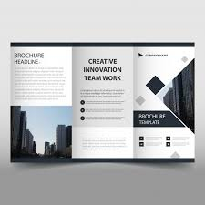 black trifold leaflet template vector free download