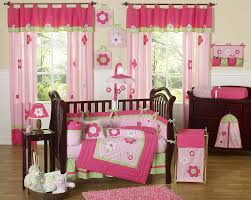 Pink And Brown Curtains For Nursery by Flower Pink U0026 Green Baby Crib Bedding 9pc Nursery Crib Set