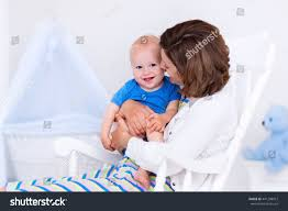 White Bedroom Rocking Chair Woman Her Young Son White Bedroom Stock Photo 441298912 Shutterstock