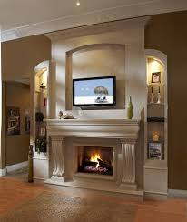 home design gas fireplace ideas with tv above sloped ceiling