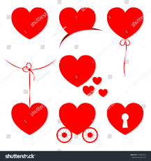 set 7 valentines day hearts objects stock vector 123702274