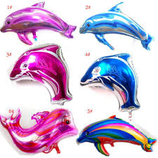 large cartoon blue pink dolphins whale foil balloon children happy