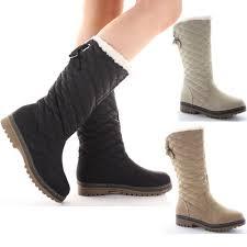 womens flat boots uk shoefashionista flat winter fur quilted low heel calf