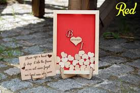 Rustic Wedding Guest Book Red Wedding Sign Guest Book Alternative Wooden Heart Rustic