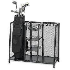 Garage Golf Bag Organizer - metal two golf clubs bag organizer equipment accessories garage