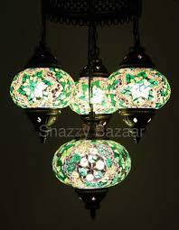 Mosaic Chandelier Turkish Turkish Mosaic 4 Globe Chandelier Emerald Green U2013 Snazzy Bazaar