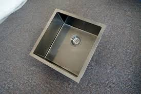 Square Kitchen Sinks 450mm Square Gun Metal Gray Handmade Stainless Steel Sink