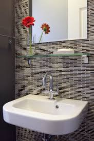 bathroom tile accent wall powder room traditional with vessel sink