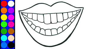 lip coloring pages learn color lip and teeth watercolor hand paint